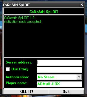 И вы скачаете чит CsDeAtH SpLOiT (Программа для взлома сервера) для cs.